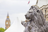 Estátua do leão no monumento e o big ben, london — Foto Stock