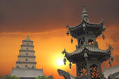 Sunset in the Giant Wild Goose Pagoda — Stock Photo