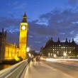 Big Ben at night, London, England — Stock Photo