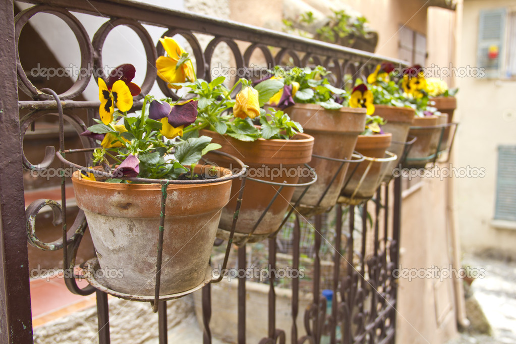Vases on a balcony — Stock Photo #9930832