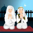 Stock Vector: Two cute little muslim kids praying with hands up