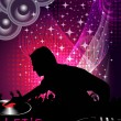 Abstract vector of Disk Jockey on Colorful Music Event Backgrou — Stock Vector