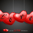 Vector illustration hanging love heart with stylish love taxt. — Vettoriali Stock
