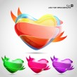 Vector glossy heart set in orange,green blue and pink eps10. — ストックベクタ