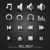 Vector grey music icons,for more music products please visit Our — Stock Vector