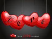 Vector illustration hanging love heart with stylish love taxt. — Vector de stock