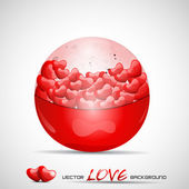 Vector illustration red cristal bal filled with hearts. — Stock Vector