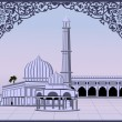 Abstract Illustration of Mosque on  abstract background with flo - Stock Vector