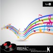 Vector de stock : Note and sound waves. Musical colorful wave line of music notes background. EPS 10, vector illustration.