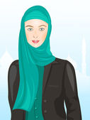 Portrait of muslim beautiful girl in hijab, — Stock Vector