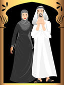 Beautiful muslim arabic couple in full pose — Stock Vector