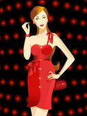 Vector illustration of a beautiful woman in red dress. — Stock Vector
