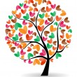 Vector illustration of a love tree on isolated white background. — Stok Vektör
