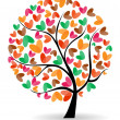 Vector illustration of a love tree on isolated white background. - Stock Vector