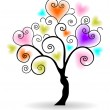 Vector illustration of a love tree on isolated white background. — Stock vektor