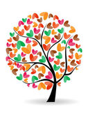 Vector illustration of a love tree on isolated white background. — Stock Vector