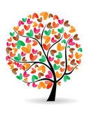Vector ilustración de un árbol del amor en fondo blanco aislado. — Vector de stock