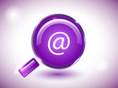 Glossy search icon in purple background. — Stock Vector