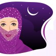 Portrait of muslim beautiful girl in hijab,visit our portfolio f — Stock Vector