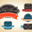 Retro set of label and tags with grunge effect — Stock Vector