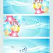 Set of three headers displaying waves and water creatures. — Stock Vector #10131168