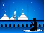 Illustration de l'Aïd mubarak carte avec la mosquée en vue de la nuit avec — Vecteur