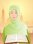 Beautiful young woman wearing green headscarf reading the Kuran. — Stock Vector