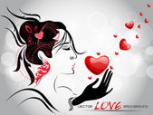 A beautiful girl holding a red heart with abstract background. — Stock Vector