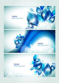 Abstract water headers with splash and glitter effects. — Stock Vector