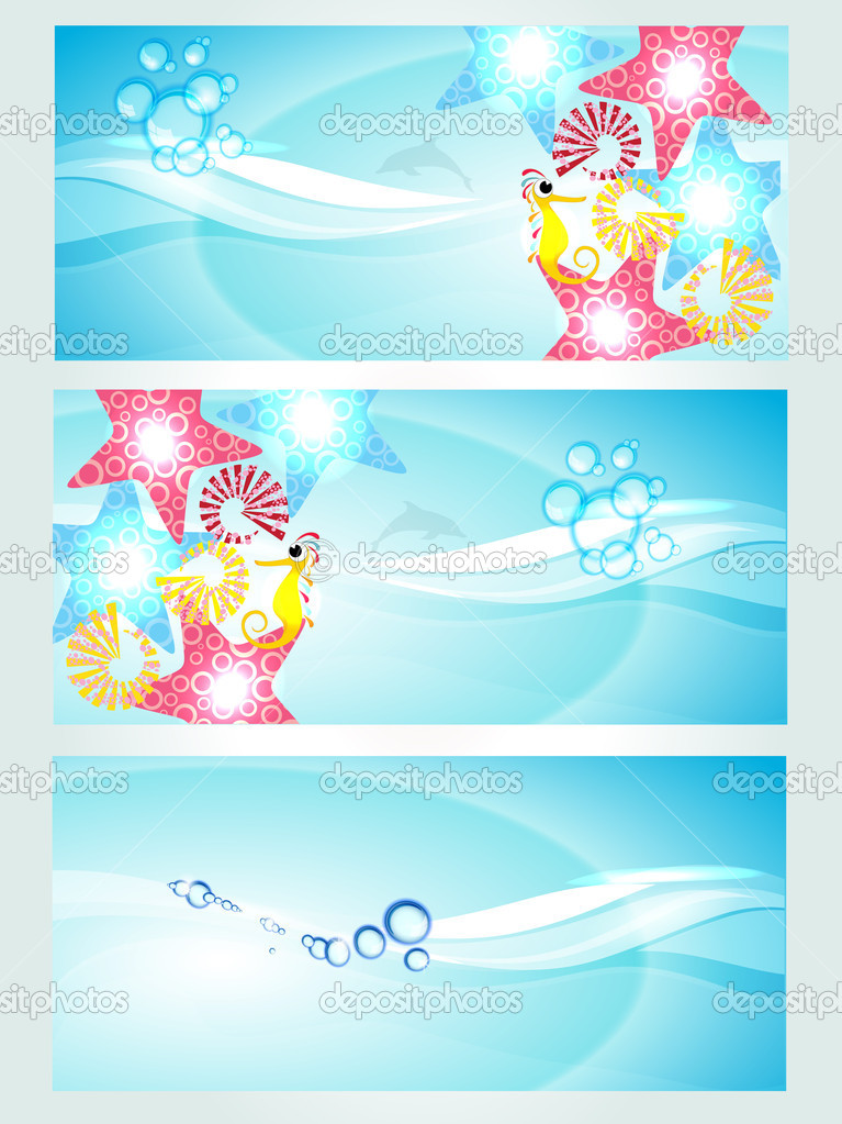 Abstract water website header or banner with floral waves, water creatures and sun light having splash and glitter effects. vector illustration in EPS 10. Save water concept — Stock Vector #10131168