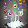 Royalty-Free Stock Vector Image: Social network communication in the global Mobile networks.
