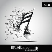 3 D vector illustration of musical node with burst effect. view — Vector de stock