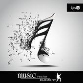3-d-vektor-illustration des musikalischen knotens mit burst-effekt. ansicht — Stockvektor