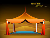 Vector orange Ramadan Majlis Tent for iftar — Stock Vector