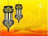 Complexe lampe arabe dans le désert, les vagues et les mosquée en arrière-plan. — Vecteur