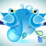 Blue birds communicating, social media network connection concept — Stock Vector