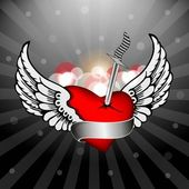 Abstract heart with the wings and knife. vector. — Stock Vector