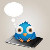 Social network Cartoon Blue Bird thinking sitting over phone. EP — Stock Vector