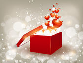 Open 3d red color gift box with shiny heart shapes — Stock vektor