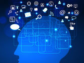 социальные сети показаны человеческого мозга, связанных с глобальных компьютерных сетей — Cтоковый вектор