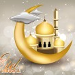 Stockvector : Eid Mubarak text with moon, Mosque or Masjid in golden color