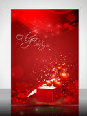 Beautiful Valentines Day flyer, banner or cover design with open gift box — Stock Vector