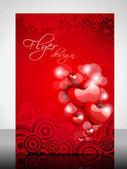 красивый дизайн листовки, баннер или обложка валентина с фигурами глянцевое сердце — Cтоковый вектор
