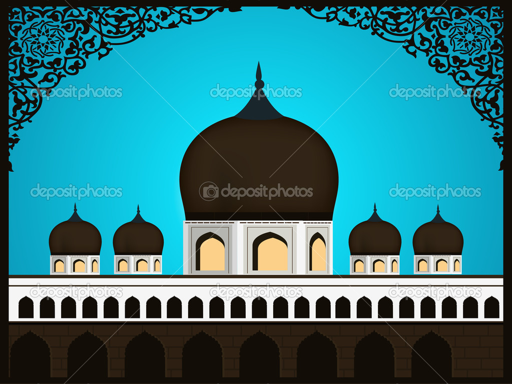 Abstract Illustration of Mosque,Masjid on abstract background wi ...
