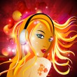 Stock Vector: vector illustarion of a beautiful dj girl with headphone on abst