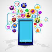 Social-media netzwerk-verbindung und kommunikation im globalen, — Stockvektor