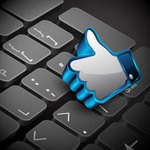 Social networking, keyboard or keypad and 3D like or thumb up bu — Vector de stock