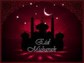 ムーンと eid のモスクとマスジッド silthouette 上のムバラク テキスト — ストックベクタ