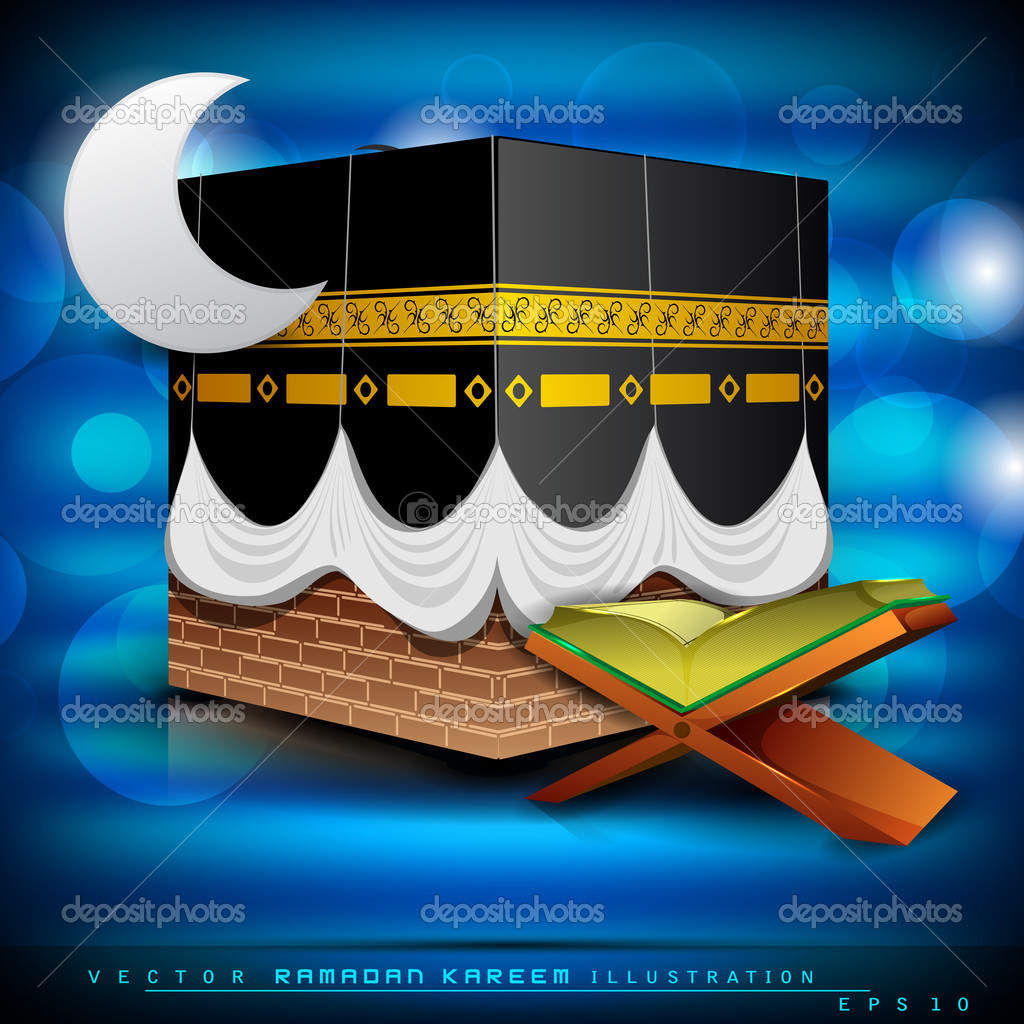 Beautiful Mosque or Masjid with holy book Quran and moon on mordern abstract blue background. EPS 10. Vector illustration. — Stock Vector #10480448