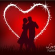 Abstract dancing couple with red background. — Stock Vector